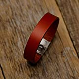 Rotes Armband aus italienischem Leder, pflanzlich gefärbt, mittlere Größe: Handgelenke mit 16.5-18 cm Umfang