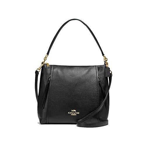 Coach Pebbled Leather Marlon Hobo Shoulder Handbag (IM/Black)