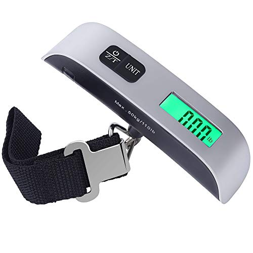 Luggage Scale Portable Digital Travel Scales Hanging for Bag Suitcase with Tare Function 110 lb/ 50KG Capacity Silver