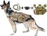 Dog Tactical Harness (L) – 1000D Nylon Molle Vest Includes Leash   3 Pouches   3 Patches   Collapsible BPA Free Bowl
