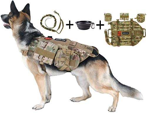 TCS Dog Tactical Harness (XL) – 1000D Nylon Molle Vest Includes Leash | 3 Pouches | 3 Patches | Collapsible BPA Free Bowl