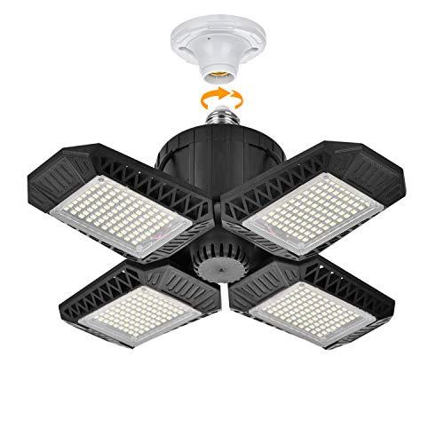 LED Garage Lights Motion Activated, Motion Sensor Garage Lights, 100W Deformable LED Garage Ceiling Lights with 4 Adjustable Panels, 10000LM E26 LED Shop Lights for Garage, Barn