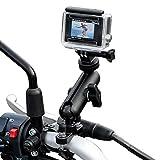 TKOOFN Soporte de Bicicleta / Motocicleta para GoPro Cámara, Montaje para Manillar de Metal Ajustable Giratorio de 360 Grados para GoPro Hero 7/6/5/4/3+/3/2 Sesión, Canon Nikon Sony Cámara de Acción