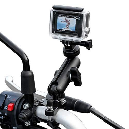 TKOOFN Supporto per Bicicletta/Motociclo per GoPro Fotocamera, Supporto in Metallo per Manubrio Regolabile Girevole a 360° per GoPro Hero 7/6/5/4/3+/3/2 Sessione, Canon Nikon Sony Fotocamera d'Azione