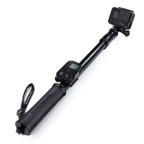 SANDMARC Pole - Black Edition: 42-103 cm Palo (Stick) para GoPro Hero 7, Osmo Action, Hero 6, Hero 5, Hero 4, Session, 3+, 3, 2 y HD - con clip remoto (montaje)