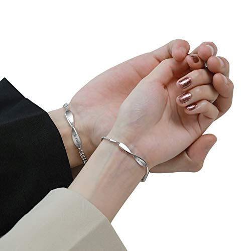 YUESFZ Brazalete Tobilleras Pareja De Pulseras En Un Par, La Pulsera De Mujer con Símbolo De Infinito Tiene Un Hermoso Significado, Pulsera De Plata para Hombre S925, (Color : Couple)