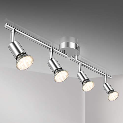 Defurhome LED Deckenleuchte Drehbar, 4 Flammig LED Strahler Deckenlampe Spot,Modern Deckenstrahler (Weißes Chrom) für Küche, Wohnzimmer, Schlafzimmer, inkl. 4 x 3.5 W GU10 LED Lampen (380LM, warmweiß)