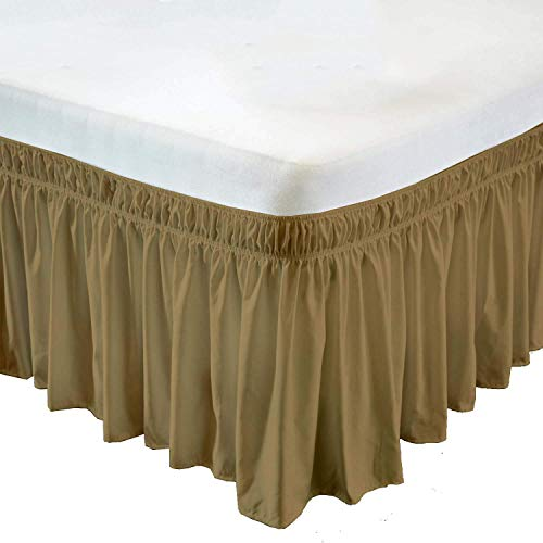 Wrap Around Elastic Bed Skirt Taupe for King Size Beds 15 Inches Drop Dust Ruffles, Polyester/Microfiber Silky Soft & Wrinkle Free Classic Stylish Look in Your Bedroom