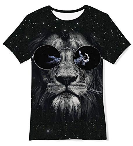 ALISISTER T-Shirt Jungen Mädchen Coole 3D Galaxis Wolf Bedruckte Kurzarm Tshirts mit Rundhalsausschnitt Kinder Sommer Sport Laufen Tee Shirts