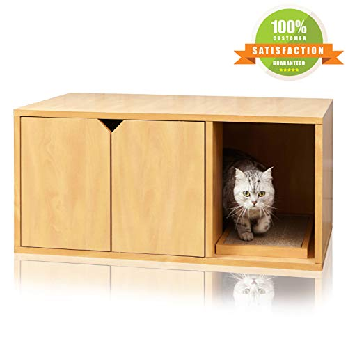 Way Basics Cat Litter Box, Enclosed Modern Cat Furniture, Natural Wood Grain (Tool-Free Assembly and Uniquely Crafted from Sustainable Non Toxic zBoard Paperboard)