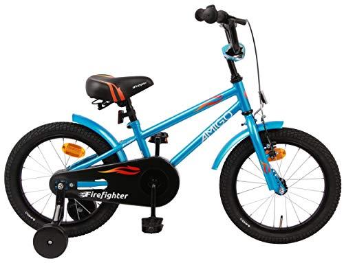 AMIGO Firefighter - Bicicleta infantil para niño, 16 pulgadas, con freno de mano, contrapedal, manillar acolchado y ruedas de apoyo, a partir de 4-6 años, color azul