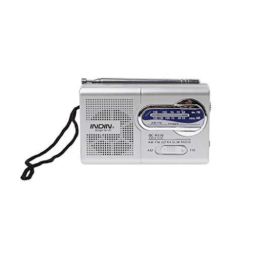 JSFGFSDH BC-R119 - Mini radio portátil (2 bandas, AM FM, receptor mundial, antena retráctil), 3 V CC