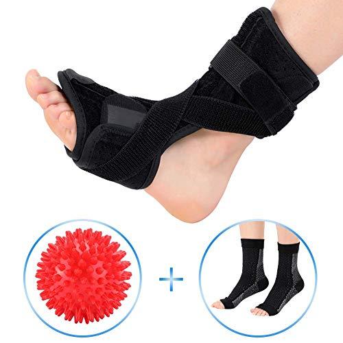 Doact Plantarfasziitis-Nachtorthese und Plantarfasziitis Socken mit Massage-Ball-Set,Plantar Fasciitis Stützklammer,Orthetischer Fuß-Drop-Brace-Tag für Männer und Frauen,Bandage zur Schmerzlinderung