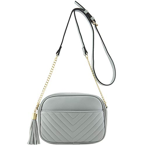 Chevron Quilted Crossbody Camera Bag with Chain Strap and Tassel (Light Grey)