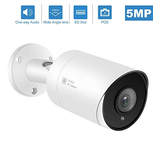 Anpviz PoE IP-Kamera 5MP Super HD-Überwachungskamera mit Audio- und SD-Kartensteckplatz, IP-Kamera IP66 im Freien wasserdicht, 20-30M Nachtsicht, Bewegungserkennung