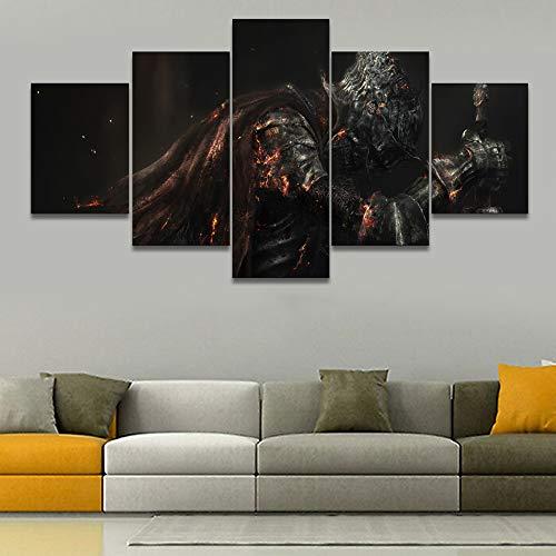 juntop Imagenes Enmarcadas HD Print On Canvas Wall Picture 5 Panel Dark Souls III Armor Fantasy Knight Warrior Painting Wall Art Marco Modular-Marco