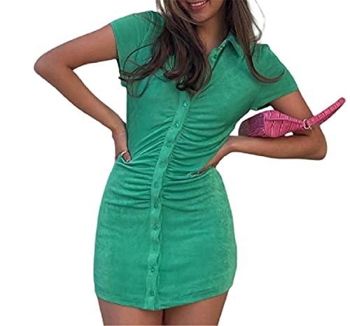 Zempertoopa Women Sexy Bodycon Dress Ladies Short Sleeve Knitted Dress Button Polo Collar Dress Summer Mini Slim Streetwear (Green, Small)