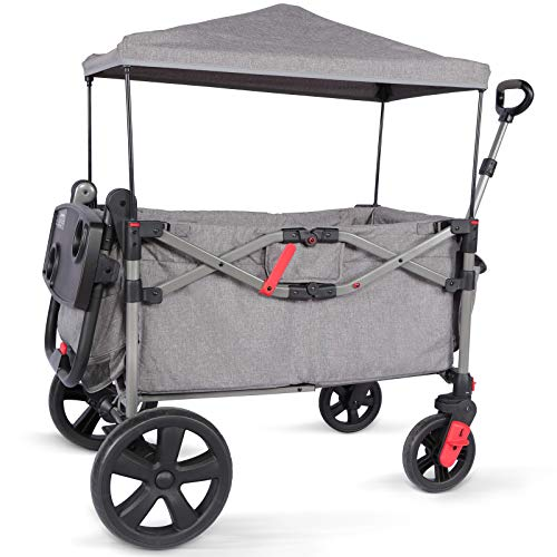 EVER ADVANCED Foldable Wagon for Two Kids & Cargo, Collapsible Folding Stroller with Adjustable Handle Bar,Removable Canopy with 5-Point Harness