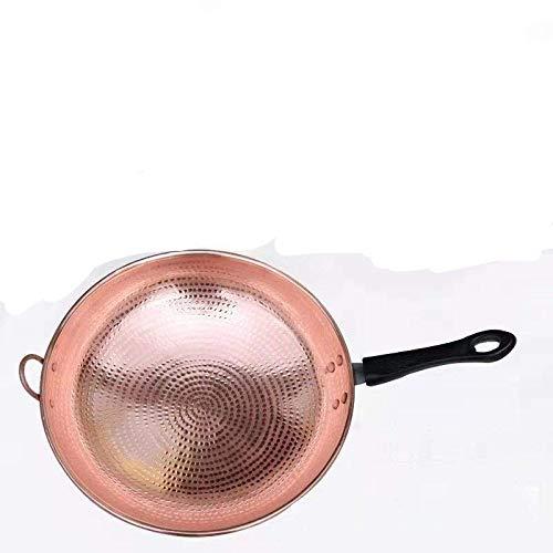 Wok in rame, wok in rame fatto a mano, wok ispessito, casseruola in rame con manico lungo per uso domestico (manico in plastica) 38 cm