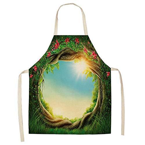 ZSDGY Delantal Creativo Verde, algodón y Lino para cocinar en el hogar, Limpiar Baberos, recepción y albergar Ropa para el hogar...