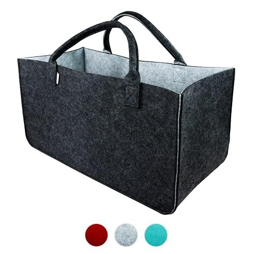 LoFelt® Filztasche - einsetzbar als Einkaufskorb, Shopper oder als Aufbewahrung für Geschenke - Tasche in XXL - Big Bag in Grau/Hellgrau
