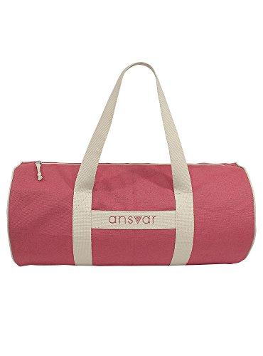 Sporttasche ansvar III aus Bio Baumwoll Canvas - Hochwertige Damen & Herren Sporttasche, Duffle Bag aus 100% nachhaltigen Materialien - mit GOTS & Fairtrade Zertifizierung, Farbe:Altrosa