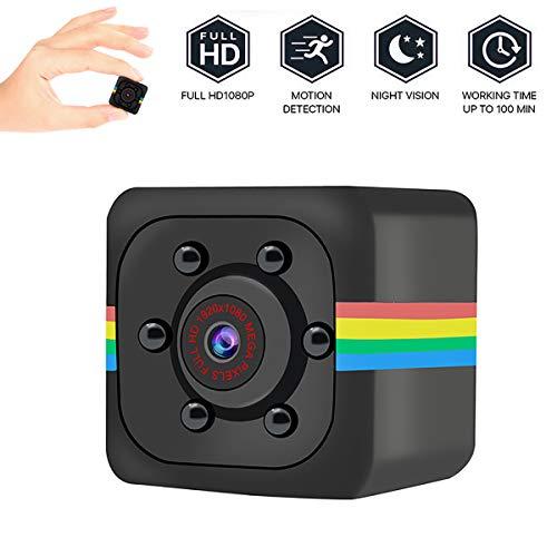 DDELLK SQ11Mini camera, HD 960P Draagbare kleine bewakingscamera, kleine nokkensensor, nachtzicht, camcorder, bewegingsrecorder voor binnen en buiten zwart