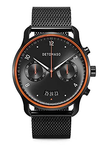 DETOMASO SORPASSO Limited Edition Velocita Schwarz Orange Herren-Armbanduhr Analog Quarz Mesh Milanese Schwarz Brushed