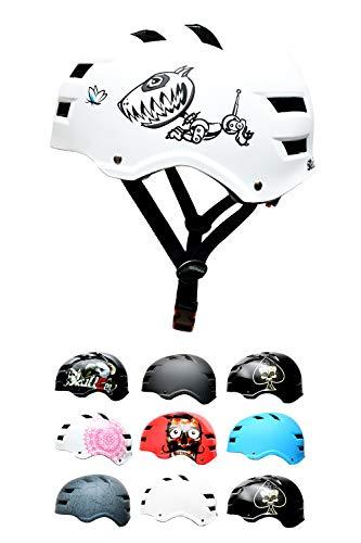 Skullcap® BMX Helm - Skaterhelm - Fahrradhelm - Herren Damen Jungs & Kinderhelm, weiß matt, Gr. M (55-58 cm), Hund lustig Robodog