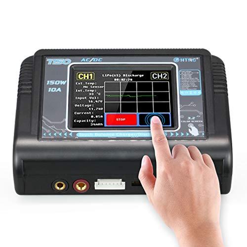 Temank LiPo Chargeur de batterie RC Balancer - 150 W - 10 A AC/DC - Avec écran tactile - Pour LiPo...