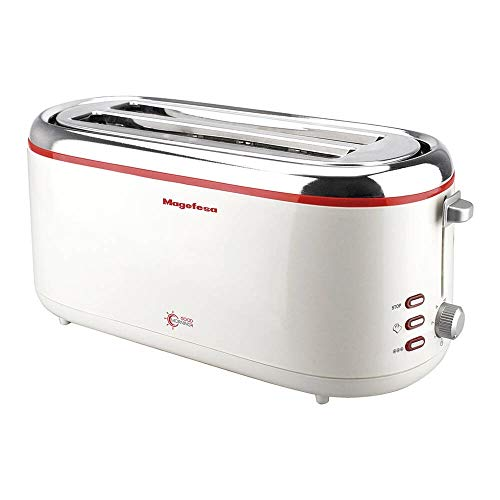 Magefesa 02TO3355000 Tostador 2 rebanadas Good Morning 1300 W, Aluminio, Acero inoxidable, 2 Ranuras, Blanco