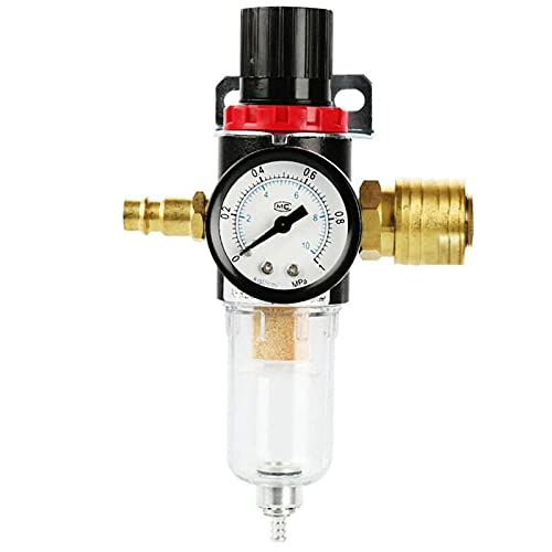 Régulateur d'Air 1/4, otutun Régulateur de Pression l'huile Filtre à air Compresseur Séparateur d'Eau Réducteur de Pression avec Manomètre pour Compresseur Pneumatique Filtre Régulateur