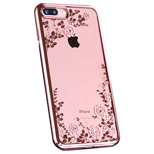 JZWDMD iPhone 7 Funda, iPhone 8 Funda Flor Patrón Rhinestone Swarovski Elements Parachoques Duro con Borde Suave Bumper Case para Apple iPhone 7 Plus/iPhone 8 Plus,A,iPhone7P/8P