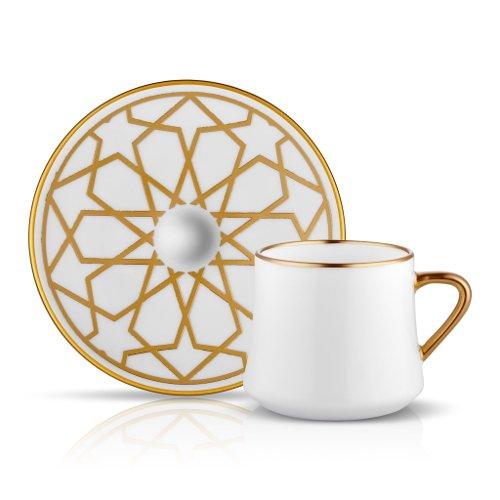 Koleksiyon Kaffee-/Tee-Tasse und Unterteller aus Bone China Porzellan mit Goldrand und Goldverzierung künstlerischer Stern 230 ml 6er Set