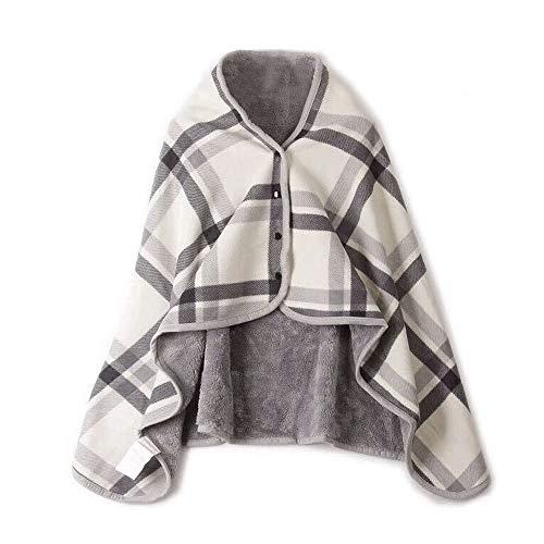 """Teepao Plaid à porter sur les épaules en micro-polaire épaisse - couverture/écharpe polyvalente avec boutons pour femme 130 x 79 cm/140 x 99 cm, Polaire, gris, 51""""x31"""""""
