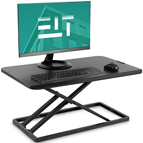 EleTab Standing Desk Converter Sit to Stand up Desk Riser Ultra Slim Desktop Elevating Workstation 29 inches (Black)