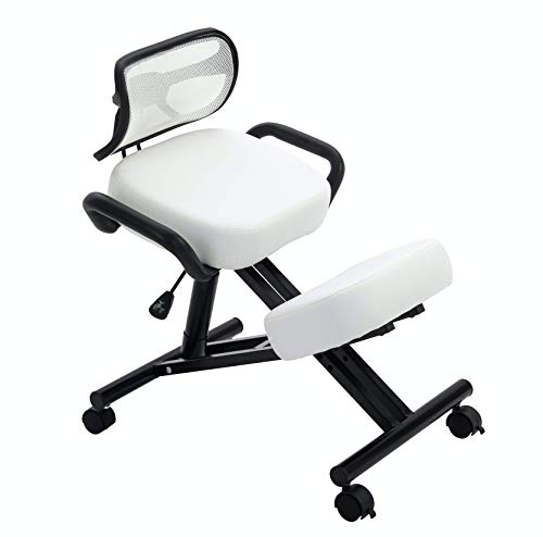 New! Stork (by Perfect Perch) - Beautiful Ergonomic Kneeling Chair with Leather Cushions, Back Support, Pneumatic Height Adjustment, Side Handles, Back Pain Relief, Home & Office (Black & White)