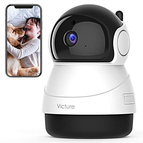 Victure 1080P FHD WLAN IP Kamera, Überwachungskamera mit Nachtsicht, Bewegungserkennung, Zwei-Wege-Audio, Innenkamera, Monitor-Baby/Haustier/Haus (Elfenbein)