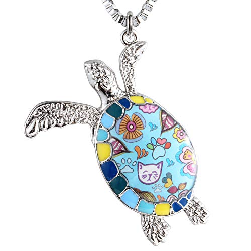 Luckeyui Blue Turtle Pendant Necklace for Women Gifts Unique Enamel Tortoise Necklaces Jewelry
