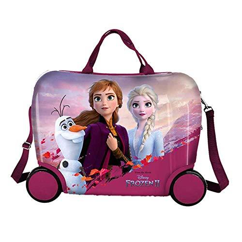 Trolley Frozen Elsa Anna Olaf Disney da Viaggio 4 Ruote CAVALCABILE TRAINABILE CM. 45X34X22 in ABS - D99868MC