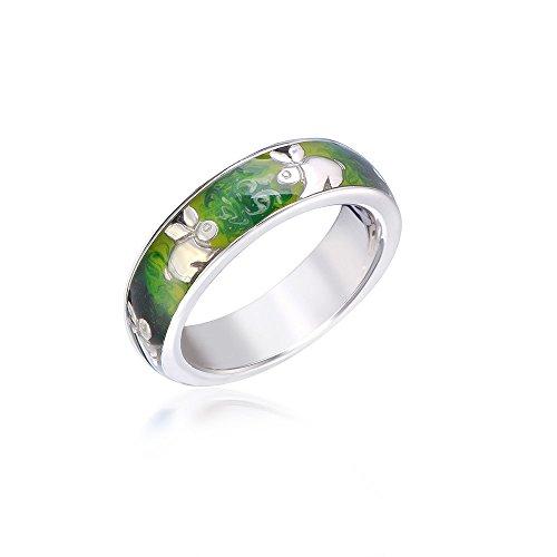 MATERIA Damen Ring Kaninchen 925 Silber Emaille grün rhodiniert deutsche Fertigung #SR-141, Ringgrößen:54 (17.2 mm Ø)