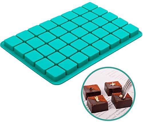 Vierkante siliconen snoepvormen, 40 Cavity Caramel Chocolate Mold voor Brownie, Truffels Chocolade, Ganache, Jelly en Pralines, Ice Cube Tray Mallen (11.8 x 7.9 x 0.6 Inch)