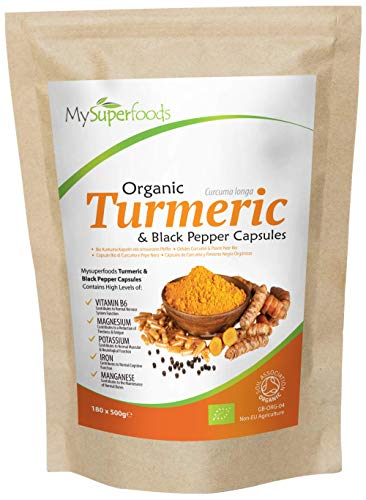 Organic Turmeric & Black Pepper Capsules (180 x 500mg), Every Batch Lab Tested for Purity, by MySuperfoods