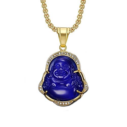 ZBOMR Collares Laughing Buddha, Colgante de Buda Collar de Buda de Jade Verde Collar de Circonita Cúbica de Buda Ice Out Jade Regalo Delicado de la Joyería de Los Collares del Amuleto (Azul)