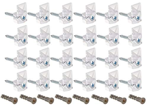 """24 Pack Mirror Clips For Wall 20 Pound Clear Plastic Mirror Holder Clip Screw And Anchor Mount, Modern, Mirror Hanging Kit 1/4"""" Inch Pack of 24 Pieces"""