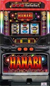 【パチスロ実機】アクロス ハナビ BHS2 マッドブラック フルセット コイン不要機付