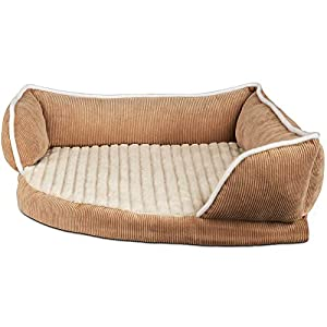 Paws & Pals Dog Bed for Pets & Cats – Triangle Corner Lounger with Self Warming Cozy Inner Cushion for Home Crate & Travel