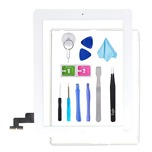 Tefir wit vervangend scherm voor iPad 2 A1395 A1396 A1397,iPad2 Touch Screen Digitizer Front Glass Assembly -Inclusief Home Button+Camera Bracket+Voorgeïnstalleerde lijm+Frame+Tools Kit