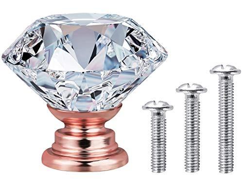 Vandicka 20 pezzi Pomelli per mobili, pomello manopola per cassetto armadio porta - cristallo trasparente diamante + base in lega in oro rosa - 30mm
