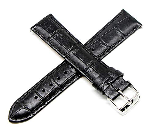 Lucien Piccard 20MM Alligator Grain Genuine Leather Watch Strap 8 Inches Black Silver Fits Grivola Ortlet